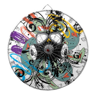 Grunge Floral Gas Mask Dartboard