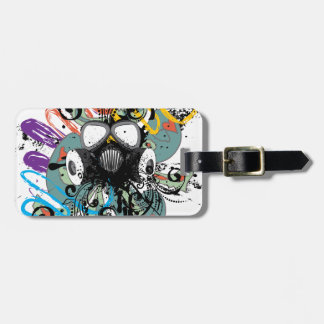 Grunge Floral Gas Mask Luggage Tag
