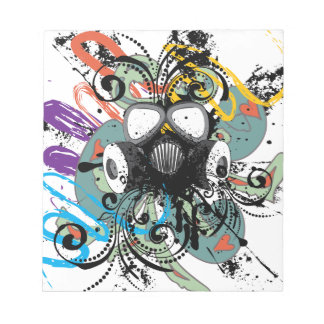 Grunge Floral Gas Mask Notepad