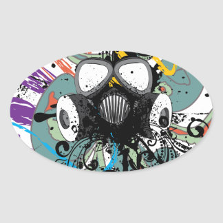 Grunge Floral Gas Mask Oval Sticker