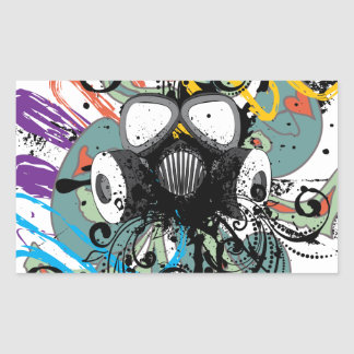Grunge Floral Gas Mask Rectangular Sticker