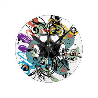 Grunge Floral Gas Mask Round Clock