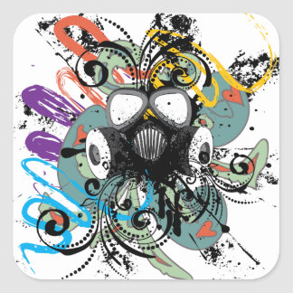 Grunge Floral Gas Mask Square Sticker