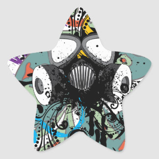 Grunge Floral Gas Mask Star Sticker