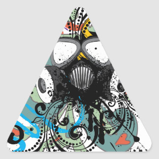 Grunge Floral Gas Mask Triangle Sticker