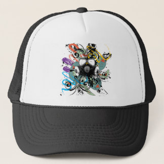Grunge Floral Gas Mask Trucker Hat