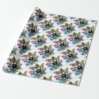 Grunge Floral Gas Mask Wrapping Paper