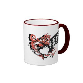 grunge floral heart coffee mug