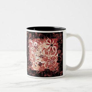 grunge floral image Two-Tone mug