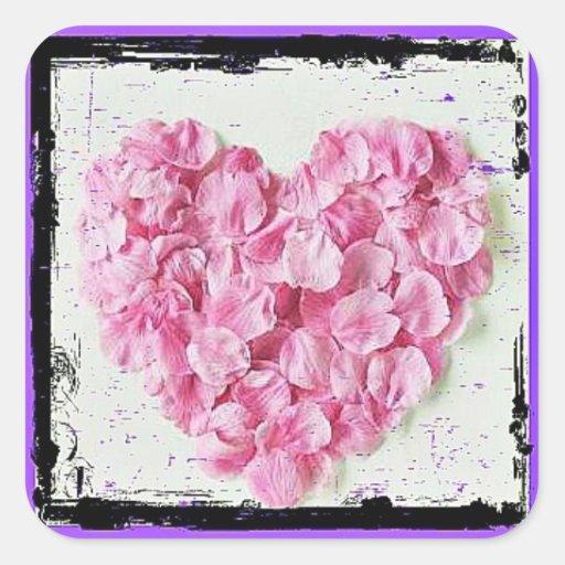 Grunge Flower Petal Heart Stickers