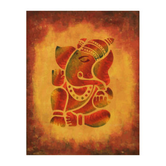 Grunge Ganesha Painting Wood Wall Art