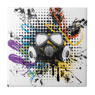 Grunge Gas Mask3 Ceramic Tile