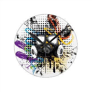 Grunge Gas Mask3 Round Clock