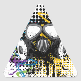 Grunge Gas Mask3 Triangle Sticker