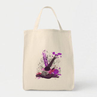 grunge girly electric guitar grocery tote bag