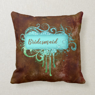 Grunge Glitter Brown Blue Vintage Copper Pillow