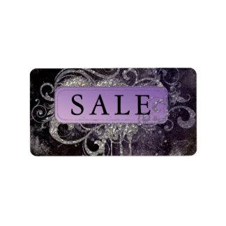 Grunge Glitter Salon Black Purple Sale Address Address Label