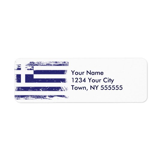 Grunge Greece Flag Return Address Label
