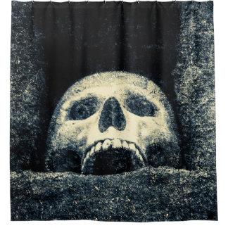 Grunge Grinning Skull In A Shrine Shower Curtain