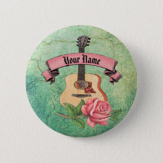 Grunge guitar and roses 6 cm round badge