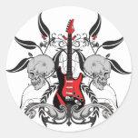 Grunge Guitar and Skull Classic Round Sticker