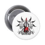 Grunge Guitar and Skull Pinback Button
