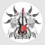 Grunge Guitar and Skull Rock n Roll Stickers Stickers