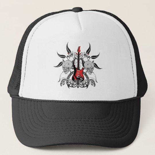 Grunge Guitar and Skull Trucker Hat
