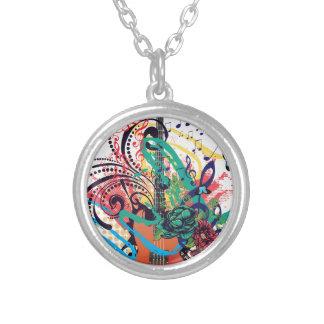 Grunge Guitar Illustration 2 Silver Plated Necklace