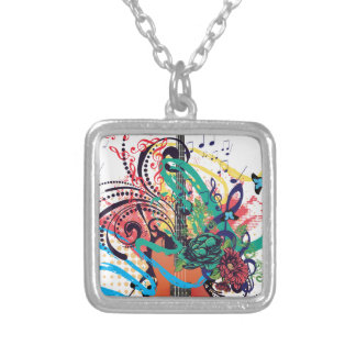 Grunge Guitar Illustration 2 Silver Plated Necklace