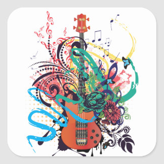Grunge Guitar Illustration 2 Square Sticker