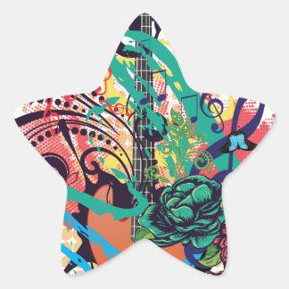 Grunge Guitar Illustration 2 Star Sticker