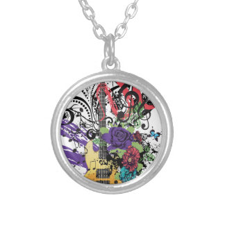 Grunge Guitar Illustration 3 Silver Plated Necklace