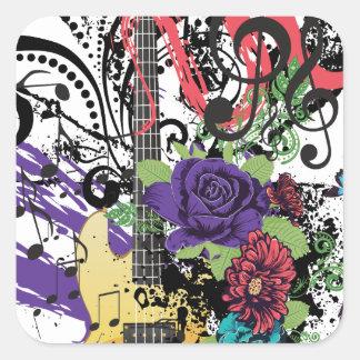 Grunge Guitar Illustration 3 Square Sticker