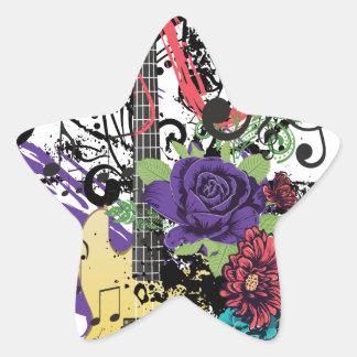 Grunge Guitar Illustration 3 Star Sticker