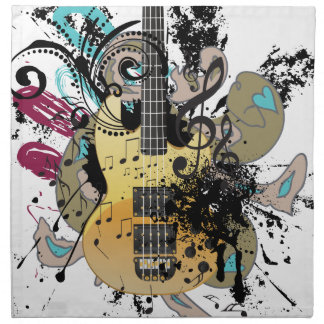 Grunge Guitar Illustration 4 Napkin