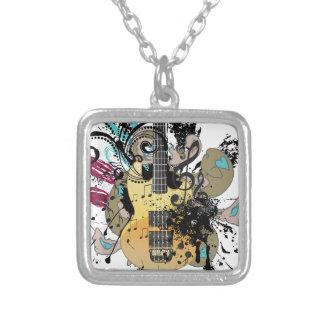 Grunge Guitar Illustration 4 Silver Plated Necklace