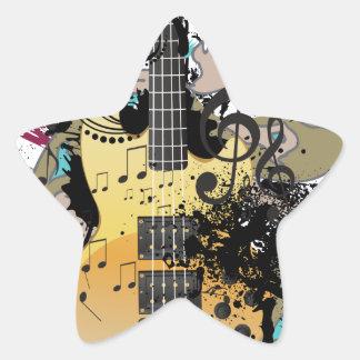 Grunge Guitar Illustration 4 Star Sticker