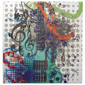 Grunge Guitar Illustration Napkin