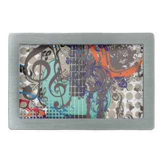 Grunge Guitar Illustration Rectangular Belt Buckle