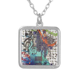 Grunge Guitar Illustration Silver Plated Necklace