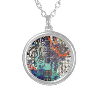 Grunge Guitar Illustration Silver Plated Necklace