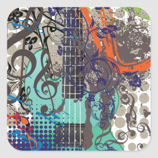Grunge Guitar Illustration Square Sticker