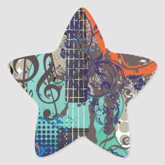 Grunge Guitar Illustration Star Sticker