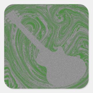 Grunge Guitar Square Sticker, Green Square Sticker