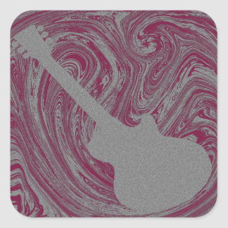 Grunge Guitar Square Sticker, Pink Square Sticker