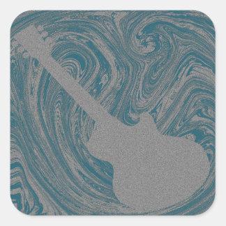 Grunge Guitar Square Sticker, Turquoise Square Sticker