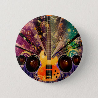 Grunge Guitar with Loudspeakers 2 6 Cm Round Badge