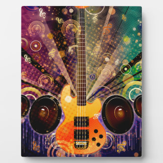 Grunge Guitar with Loudspeakers 2 Display Plaques