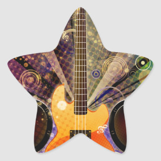 Grunge Guitar with Loudspeakers 2 Star Sticker